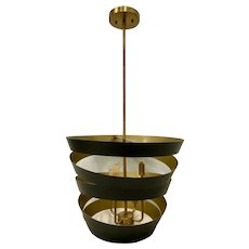 Modern Black & Gold Swirl Metal Pendant Chandelier