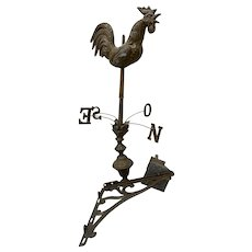 Antique French Rooster Weather Vane with Directionals