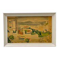 A View From Pacific Heights Original Watercolor Circa 1940s