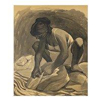 "Mid Century Modern Watercolor ""Washing Clothes"" Puerto Vallarta by Daniel c.1957"