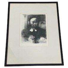 "Jack Levine ""The Rabbi in His Study"" Original Etching c.1961"