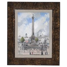 "Lesbia Thorpe (Australia, 1919-2009) ""Nelson's Column"" Original Oil Painting c.1960"