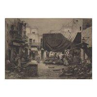 "Walter Chandler Etching ""Arab Market Scene"" c.1930's"