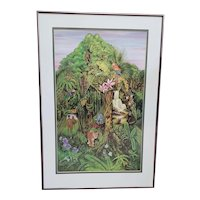 """The Spirit of the Rainforest"" Offset Color Lithograph by Azra Simonetti C.1989"