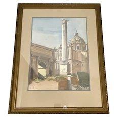 "David Mode Payne (American, 1907-1985) ""Column of Phocas"" Original Watercolor c.1932"