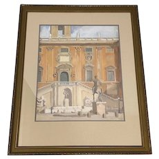 "David Mode Payne (American, 1907-1985) ""Marcus Aurelius Statue, Rome"" Original Watercolor c.1932"