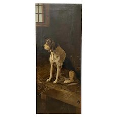 19th Century Oil Portrait of a Beagle Dog on a Bed of Straw