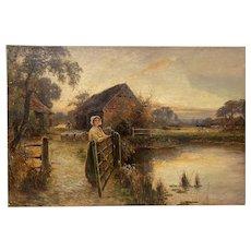 "Ernest Walbourn (England, 1871-1927) ""Bringing Home the Flock"" Original Painting c.1900"
