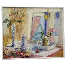 """Sally Salan (American, 20th c.) """"Still Life with Glass Objects"""" Original Oil Painting c.1991"""