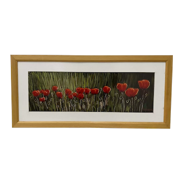 Red Poppies Original Oil Pastel on Paper by A. Kedami 20th c.