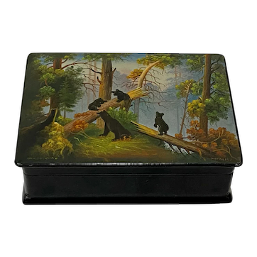 """Russian Paper-Mache """"Morning in the Woods"""" Hand Painted Lacquered Trinket Box"""