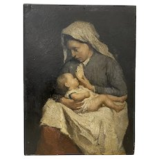 David Bautz (Dutch, 1884-1955) Portrait of a Dutch Mother and Child c.1920