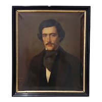 F. VIAU Mid 19th Century Oil Portrait of a Young Man c.1847