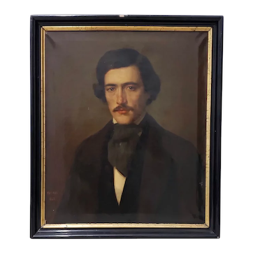 Mid 19th Century Oil Portrait of a Young Man c.1847