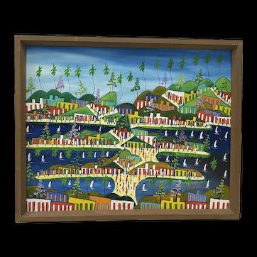 "Nosirel Depal (Haiti, 20th c.) ""Caribbean Life"" Original Painting c.1980s"