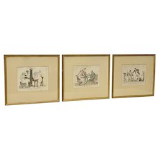 Set of Three Early 19th Century Hand Colored Satirical Etchings