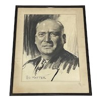 Irving Sinclair (Canada / America, 1895-1969) Charcoal Portrait of Ed Hafter c.1950