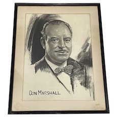 Irving Sinclair (Canada / America, 1895-1969) Charcoal Portrait of Don Marshall c.1950