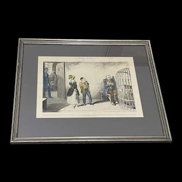 "George Cruikshank ""The Bottle"" Plate VIII Hand Colored Engraving 19th c."
