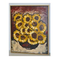 "Mid-Century Modern Carlo of Hollywood ""Sunflowers"" Oil Painting c.1960"