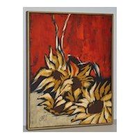 "Carlo of Hollywood ""Sunflowers"" Mid Century Modern Oil Painting c.1960"