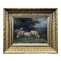 George Riecke (1848-1930) Bucolic Landscape w/ Sheep c.1890