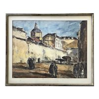 Arturo Souto Feijoo (1901-1964) City Walls w/ Figures Original Mixed Media c.1950