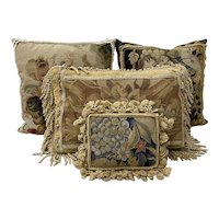 Four Gorgeous Petit Point & Needlepoint Pillows w/ Classical Scenes 20th c.