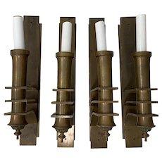 Set of Four Art Deco Copper Wall Sconces c.1920