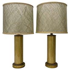 Paul Hanson Crackled (Foil) Glass Lamps w/ Original Shades c.1950