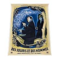 "Des Souris Et Des Hommes ""Of Mice & Men"" Steinbeck, French Movie Poster c.1949"