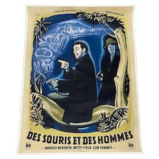 "Des Souris Et Des Hommes ""Of Mice & Men"" Steinbeck, French Movie Poster c.1949"