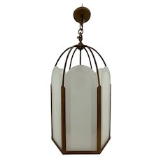 French Deco Bronze & Frosted Glass Single Light Hexagon Pendant Chandelier c.1930