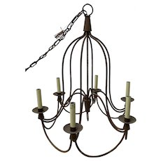 Vintage Wrought Iron Six Light Chandelier c.1970