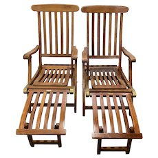 """Pair of Vintage """"SS New Amsterdam"""" 1st Class Reclining Teak Deck Chairs c.1940"""