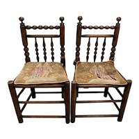 Pair of 19th Century American Walnut Side Chairs w/  Petit Point Cushions
