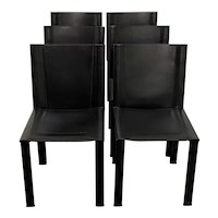 Set of Six Matteo Grassi Modernist Black Leather Dining Chairs