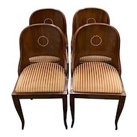 "Set of Four 19th C. American Empire ""Gondola"" Style Dining Chairs w/ Inlay"