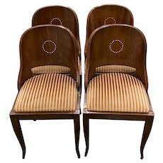 """Set of Four 19th C. American Empire """"Gondola"""" Style Dining Chairs w/ Inlay"""