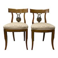Pair of 19th Century Biedermeier Lyre Back Dining Chairs