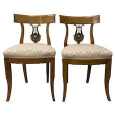 Pair of 19th Century Biedermeier Lyre Back Dining Chairs