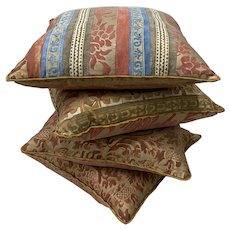Set of Four Fortuny Fabric Cushions / Pillows
