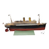 Antique Marklin Ocean Liner with American Flags & Lifeboats c.1900