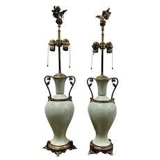 Pair of Elegant Sage Green Porcelain Table Lamps w/ Ormolu Mounts c.1940