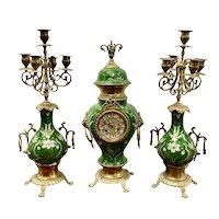 Vintage Green Enameled Clock and Candelabras c.1930
