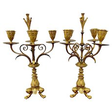 Pair of 19th Century French Gilded Candelabras