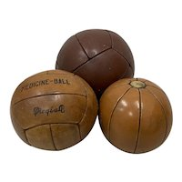 Set of Three Vintage Leather Medicine Balls c.1940