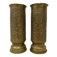 Pair of World War I Brass Shell Casings Trench Art Vases c.1918