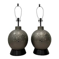 Pair of Vintage Ceramic Metallic Silver Glaze Ball Lamps by Marbro c.1970