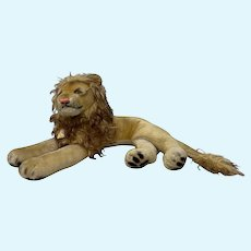 Steiff Classic Reclining Leo (the Lion) Plush Animal Toy c.1950s